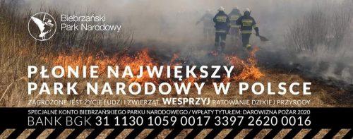 pożary w Biebrzańskim Parku Narodowym zbiórka